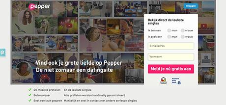Pepper.nl datingsite printscreen